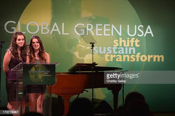 Vanessa Marano and Laura Marano speak at Global Green USA's Millennium Awards at Fairmont Miramar Hotel on June 8 2013 in Santa Monica California...