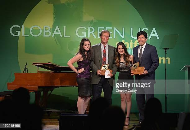 Vanessa Marano Tom Steyer Laura Marano and Sen Kevin de Leon speak at Global Green USA's Millennium Awards at Fairmont Miramar Hotel on June 8 2013...