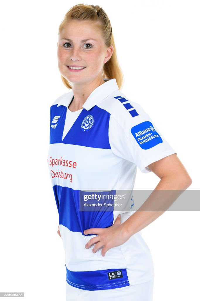 Vanessa Martini of MSV Duisburg poses during the Allianz Frauen Bundesliga Club Tour at MSV Duisburg on August 17, 2017 in Duisburg, Germany.