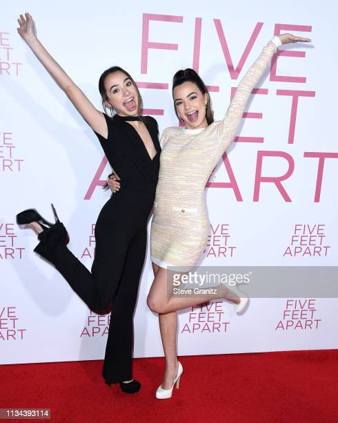 Vanessa Merrell and Veronica Merrell arrives at the Premiere of Lionsgate's Five Feet Apart at Fox Bruin Theatre on March 07 2019 in Los Angeles...
