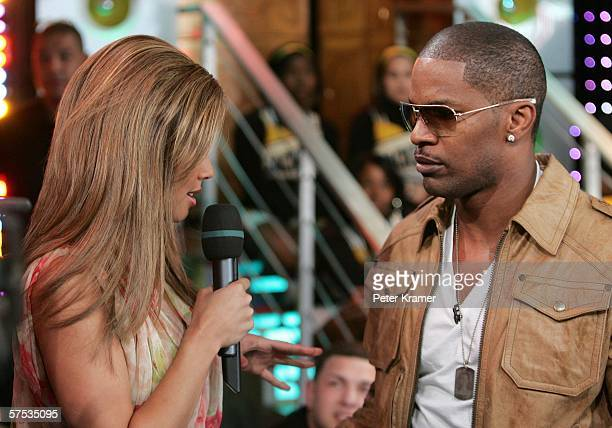 Vanessa Minnillo and Actor Jamie Foxx make an appearance on MTV's Total Request Live on May 4, 2006 in New York City.