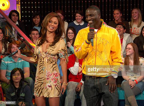 Vanessa Minnillo and Akon during Hilary Duff Akon and Robin Thicke visit MTV's 'TRL' February 8 2007 at MTV Studios in New York City New York United...