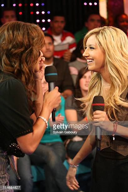 Vanessa Minnillo and Ashley Tisdale during Fergie Ashley Tisdale Lloyd Lil Wayne and Timbaland Visit MTV's TRL February 7 2007 at MTV Studios at 1515...