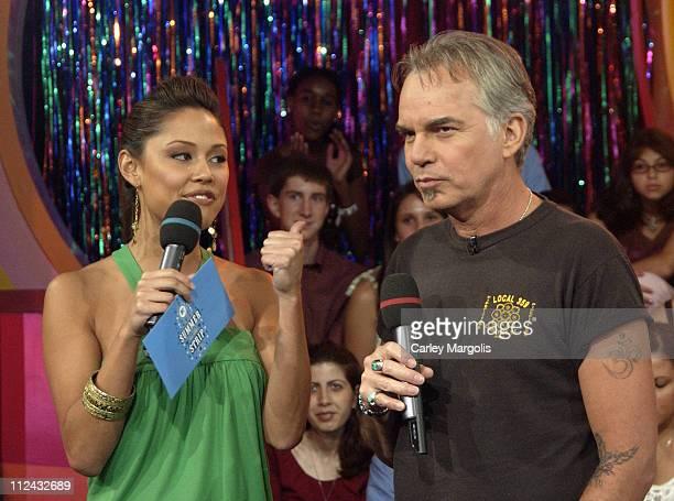 Vanessa Minnillo and Billy Bob Thornton during Billy Bob Thornton Visits MTV's 'TRL' July 18 2005 at MTV Studios in New York City New York United...