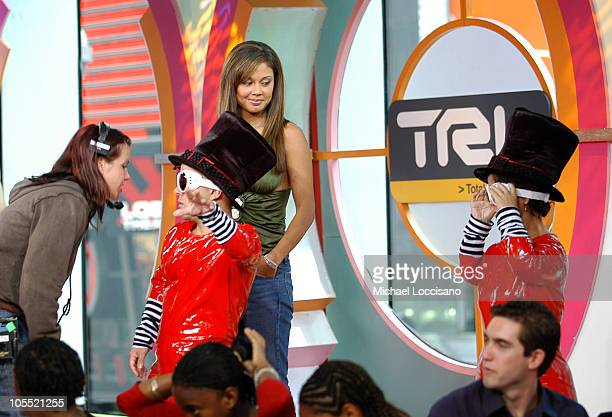 Vanessa Minnillo and Guest Oompa Loompas during Jennifer Connelly Visits MTV's TRL July 7 2005 at MTV Studios Times Square in New York City New York...