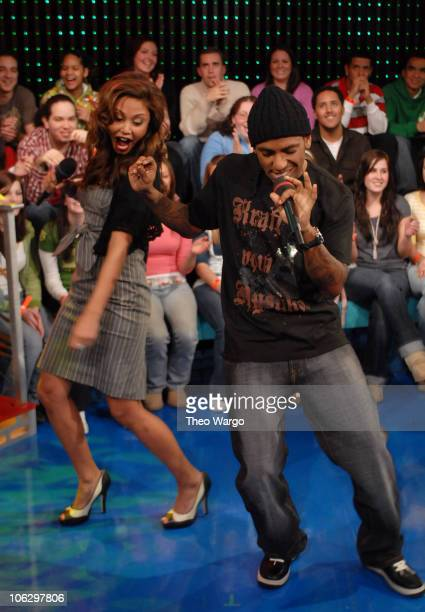 Vanessa Minnillo and Lloyd during Ashley Tisdale Fergie Lloyd and Timbaland Visit MTV's TRL February 7 2007 at MTV Studios in New York City New York...