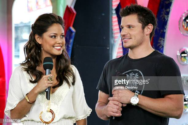 Vanessa Minnillo and Nick Lachey during Nick Lachey Visits MTV's TRL July 26 2006 at MTV Studios in New York City New York United States
