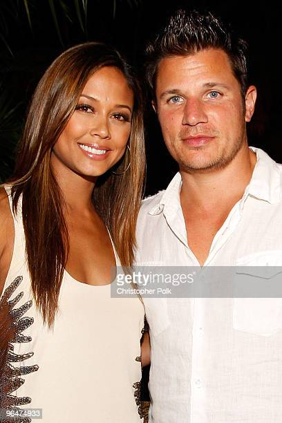 Vanessa Minnillo and singer Nick Lachey attend the 2010 Maxim Party at The Raleigh on February 6 2010 in Miami Florida