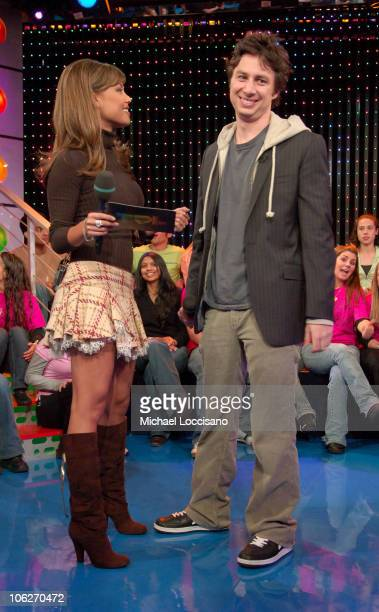 "Vanessa Minnillo and Zach Braff during Zach Braff and James Lafferty Vist MTV's ""TRL"" - October 26, 2005 at MTV Studios - Times Square in New York..."