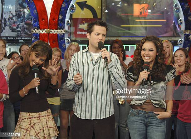"Vanessa Minnillo, Damien Fahey and Susie Castillo during Zach Braff and James Lafferty Visit MTV's ""TRL"" - October 26, 2005 at MTV Studios in New..."