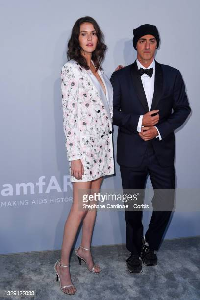 Vanessa Moody and Gabriel Moratti attend the amfAR Cannes Gala 2021 during the 74th Annual Cannes Film Festival at Villa Eilenroc on July 16, 2021 in...