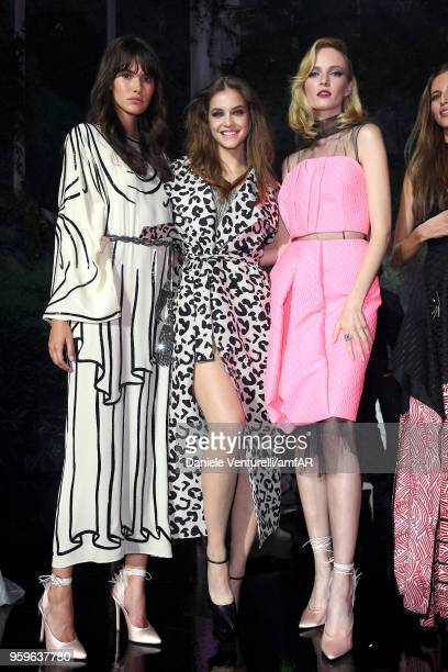 Vanessa Moody Barbara Palvin and Daria Strokous on stage at the amfAR Gala Cannes 2018 at Hotel du CapEdenRoc on May 17 2018 in Cap d'Antibes France