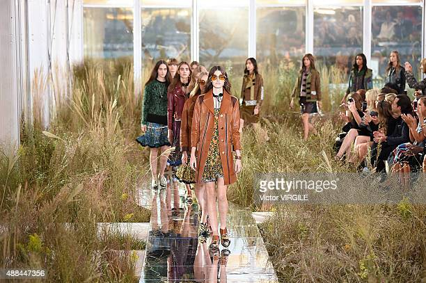 Vanessa Moody walks the runway at the Coach Women's Spring Summer 2016 fashion show during New York Fashion Week on September 15, 2015 in New York...