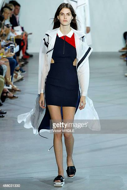 Vanessa Moody walks the runway at the Lacoste Spring Summer 2016 during the New York Fashion Week on September 12 2015 in New York City