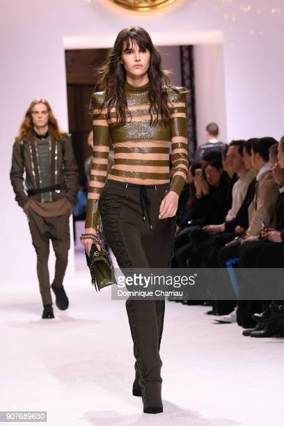 Vanessa Moody walks the runway during the Balmain Homme Menswear Fall/Winter 2018-2019 show as part of Paris Fashion Week on January 20, 2018 in...