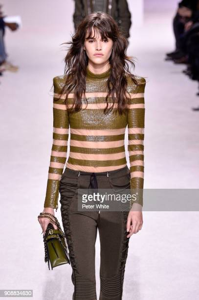 Vanessa Moody walks the runway during the Balmain Homme Menswear Fall/Winter 20182019 show as part of Paris Fashion Week on January 20 2018 in Paris...