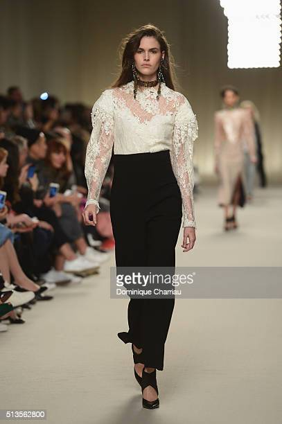 Vanessa Moody walks the runway during the Lanvin show as part of the Paris Fashion Week Womenswear Fall/Winter 2016/2017 on March 3, 2016 in Paris,...