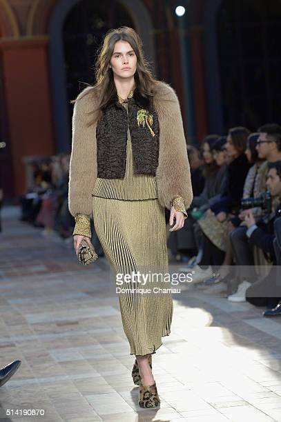 Vanessa Moody walks the runway during the Sonia Rykiel show as part of the Paris Fashion Week Womenswear Fall/Winter 2016/2017 on March 7 2016 in...