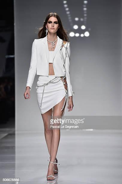 Vanessa Moody walks the runway during the Versace Spring Summer 2016 show as part of Paris Fashion Week on January 24 2016 in Paris France