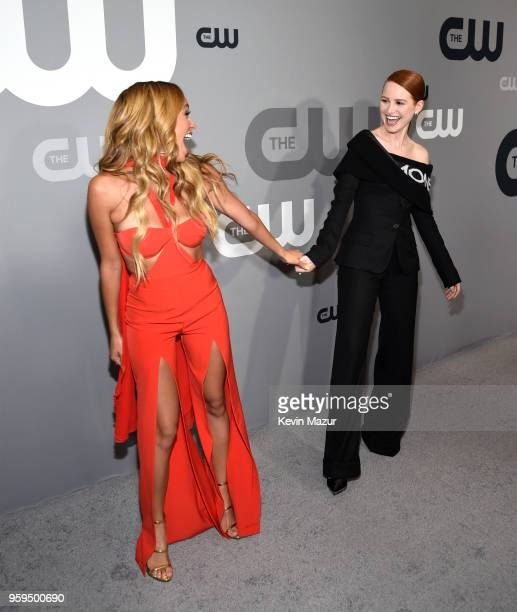 Vanessa Morgan and Madelaine Petsch attend The CW Network's 2018 upfront at The London Hotel on May 17 2018 in New York City