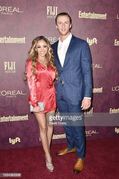 Vanessa Morgan and Michael Kopech attend the Entertainment Weekly PreEmmy Party 2018 at Sunset Tower Hotel on September 15 2018 in West Hollywood...