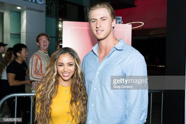 Vanessa Morgan and Michael Kopech attend the Premiere Of Neon And Refinery29's Assassination Nation at ArcLight Hollywood on September 12 2018 in...