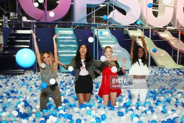 Vanessa Morgan Candice Patton Caity Lotz and Ashley Murray speak onstage during the 'Screen Queens' panel day 2 of POPSUGAR Play/Ground on June 10...