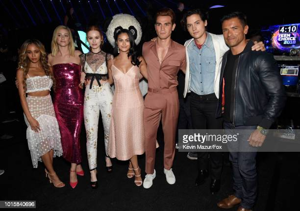 Vanessa Morgan Lili Reinhart Madelaine Petsch Camila Mendes KJ Apa Cole Sprouse and Mark Consuelos attend FOX's Teen Choice Awards at The Forum on...