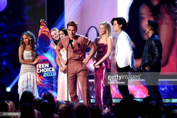 Vanessa Morgan Madelaine Petsch Camila Mendes KJ Apa Lili Reinhart Cole Sprouse and Mark Consuelos of Riverdale accept the Choice Drama TV Show...
