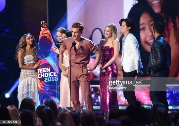 Vanessa Morgan Madelaine Petsch Camila Mendes KJ Apa Lili Reinhart Cole Sprouse and Mark Consuelos of 'Riverdale' accept the Choice Drama TV Show...