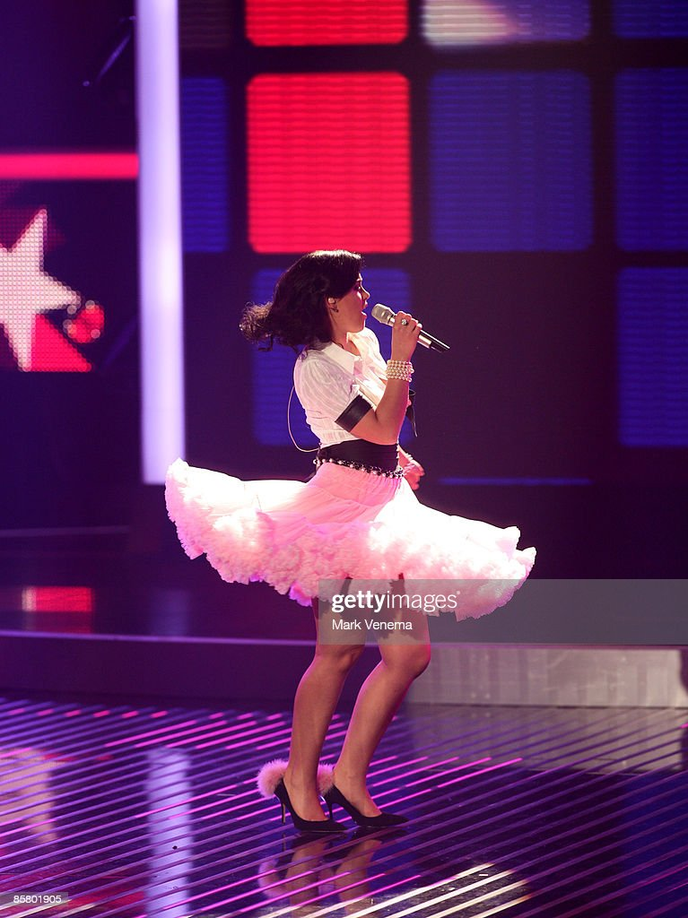 Vanessa Neigert performs a song during the rehearsal for the singer qualifying contest DSDS 'Deutschland sucht den Superstar' 4th motto show on April 4, 2009 in Cologne, Germany.