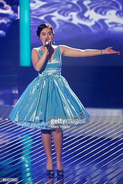 Vanessa Neigert performs a song during the rehearsel for the singer qualifying contest DSDS 'Deutschland sucht den Superstar' motto show on March 14...