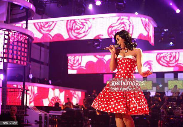 Vanessa Neigert performs her song during the rehearsal for the singer qualifying contest DSDS 'Deutschland sucht den Superstar' 5th motto show on...
