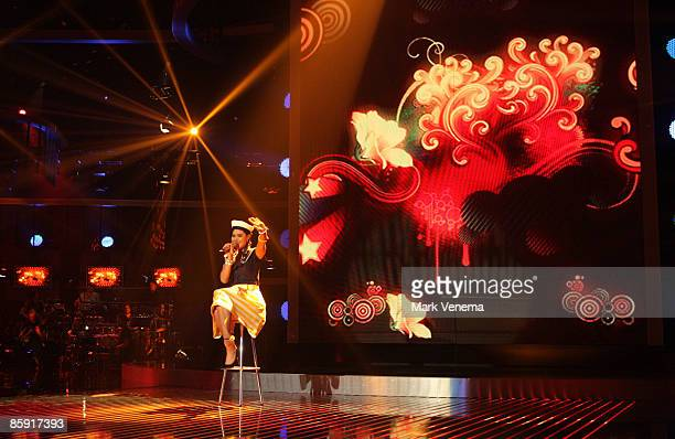 Vanessa Neigert performs her song during the rehearsel for the singer qualifying contest DSDS 'Deutschland sucht den Superstar' 5th motto show on...