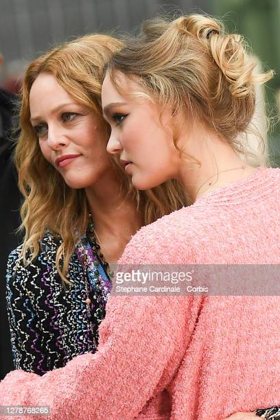 Vanessa Paradis and daughter Lily-Rose Depp attend the Chanel Womenswear Spring/Summer 2021 show as part of Paris Fashion Week on October 06, 2020 in...