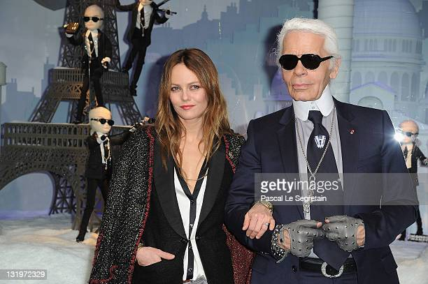 Vanessa Paradis and Karl Lagerfeld attend the Launch of the Christmas Illuminations at Le Printemps on November 9, 2011 in Paris, France.