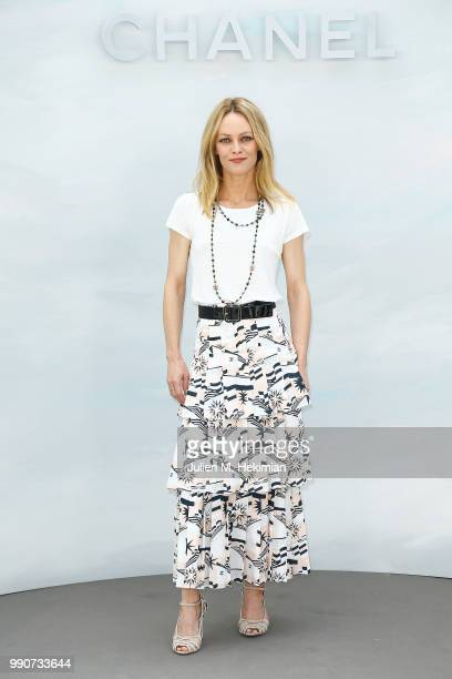 Vanessa Paradis attends the Chanel Haute Couture Fall Winter 2018/19 show at Le Grand Palais on July 3, 2018 in Paris, France.