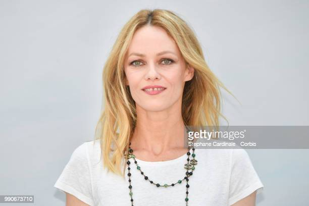 Vanessa Paradis attends the Chanel Haute Couture Fall/Winter 2018-2019 show as part of Haute Couture Paris Fashion Week on July 3, 2018 in Paris,...