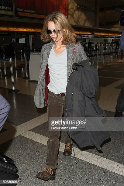 Vanessa Paradis is seen at LAX on January 22 2016 in Los Angeles California