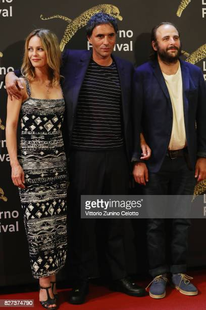 Vanessa Paradis Samuel Benchetrit Vincent Macaigne attend 'Chien' premiere during the 70th Locarno Film Festival on August 7 2017 in Locarno...