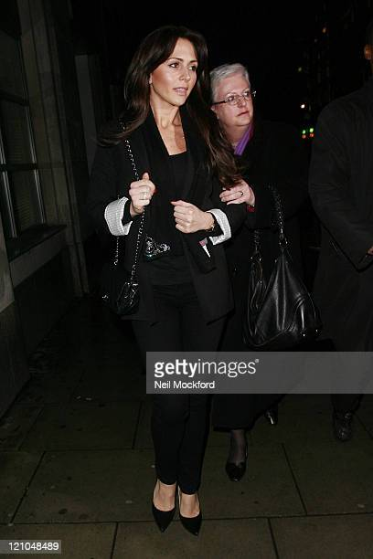 Vanessa Perroncel leaves court after facing a maintenance payments hearing with Wayne Bridge at the Family Division of The Royal Courts of Justice on...