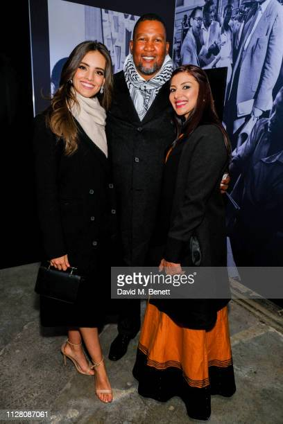 Vanessa Ponce and Chief Nkosi Zwelivelile Mandela and Rabia Clarke attend a private view of Mandela The Official Exhibition at 26 Leake Street on...