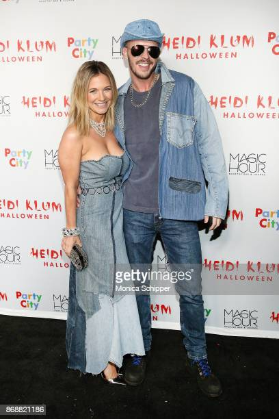 Vanessa Ray and Jake Wilson attend Heidi Klum's 18th Annual Halloween Party at Magic Hour Rooftop Bar Lounge on October 31 2017 in New York City