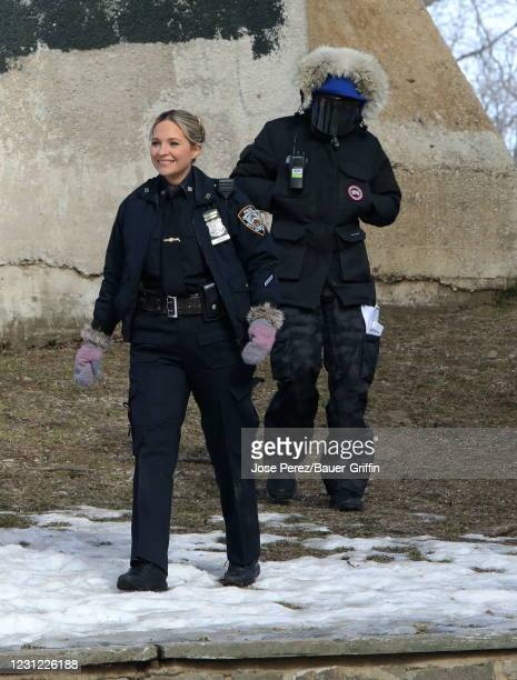 """Vanessa Ray is seen on the set of """"Blue Bloods"""" on February 17, 2021 in New York City."""