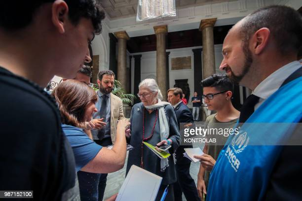 AQUILE PALERMO SICILY ITALY Vanessa Redgrave a famous British actress received at the Palazzo delle Aquile in Palermo with fans