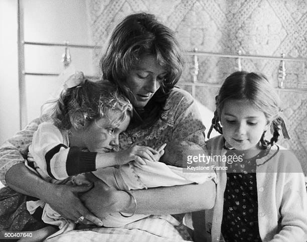 Vanessa Redgrave and her three children, Natasha Richardson, Joely Richardson and the new born Carlo Gabriel Nero, 1969.