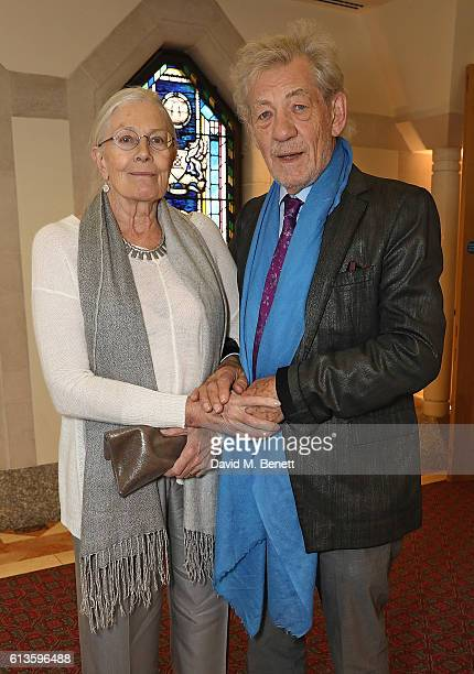 Vanessa Redgrave and Ian McKellen attend the UK Theatre Awards 2016 at The Guildhall on October 9 2016 in London England
