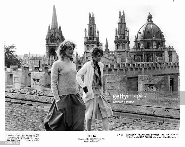 Vanessa Redgrave and Jane Fonda walking near ornate building in a scene from the film 'Julia' 1977