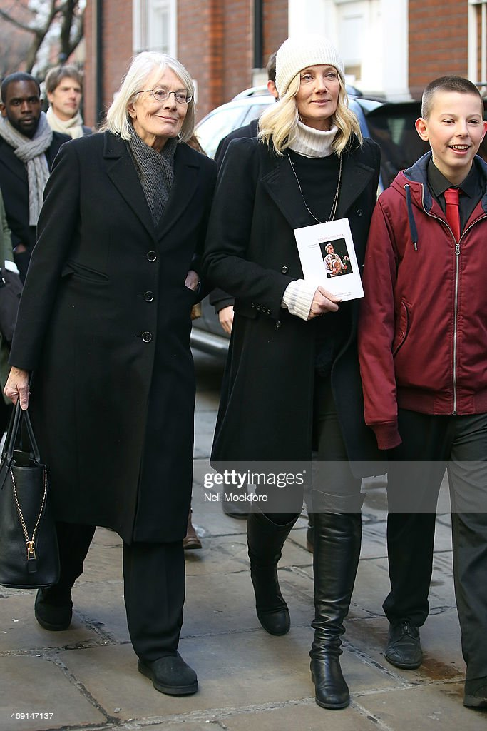 Vanessa Redgrave (L) and Joely Richardson (C) attend the funeral of Roger Lloyd-Pack at St Paul's Church in Covent Garden on February 13, 2014 in London, England.