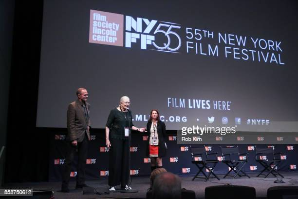 Vanessa Redgrave and producer Carlo Gabriel Nero make an intro on stage with Florence Almozini of The Film Society of Lincoln Center at the screening...